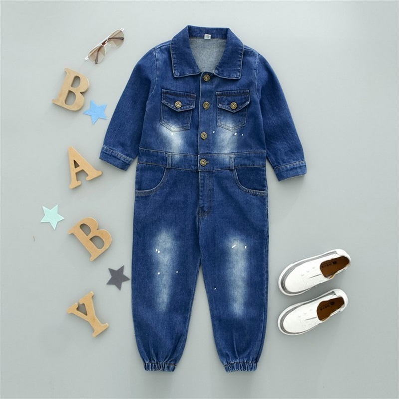 Image 4 - CNFSNJ new Baby Boy Girls Costume Cowboy Fashion Jeans Children Soft Denim Baby Romper Graffiti Infant Clothes Newborn Jumpsuitdenim babyfashion girlgirls fashion -