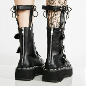 Image 5 - Coolcept Plus Size 35 45 Real Leather Mid Calf Boots Women Zip Buckle Strap Rivets Shoes Punk Thick Bottom Gothic Designer Shoes