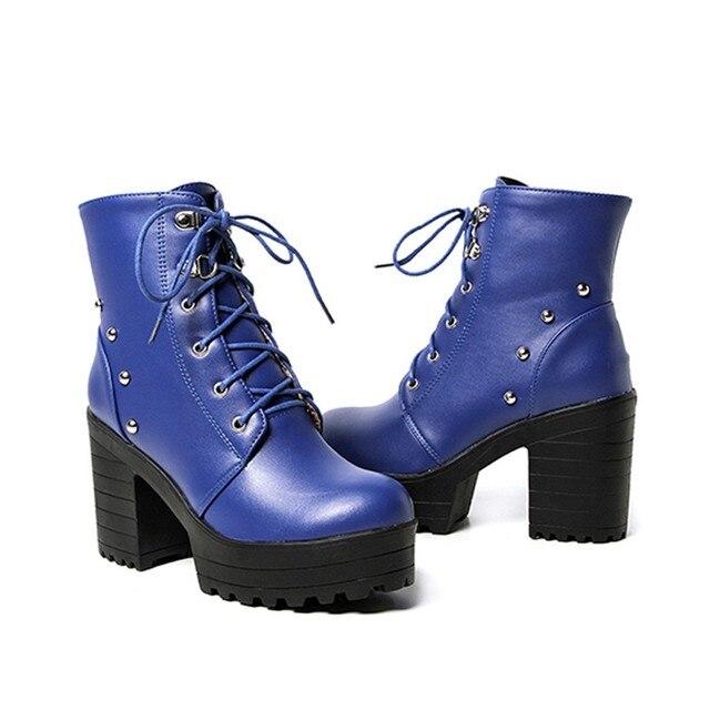 Blue Biker Combat Boots 4