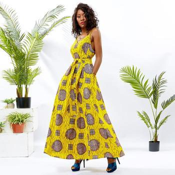 Shenbolen African dresses for women sexy Halter Dress long african clothing print Ankara