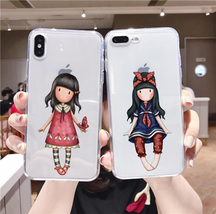 Cartoon Lovely Santoro Gorjuss Black Soft Shell Phone Case For iphone 6/6s 11Pro 7 / 8 , 7Plus/8Plus, X , XS , XR , XSMax(China)