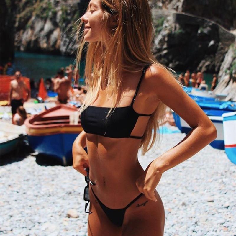 women sexy bandeau bikini set 2019 new high cut brazilian swimwear solid backless Bikinis maillot de bain stripe print swimsuit-2