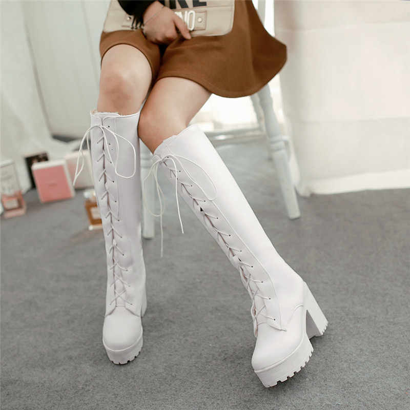 MORAZORA 2020 yeni varış kalın kürk kış kar botları kadın kare yüksek topuklu platform ayakkabılar lace up kadınlar diz yüksek çizmeler