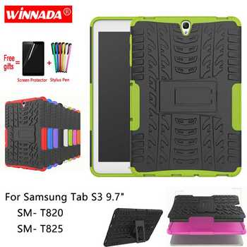 for samsung galaxy tab s3 9 7 slim folding cover case for samsung galaxy tab s3 9 7 inch 2017 version tablet sm t820 t825 For Samsung Galaxy Tab S3 9.7 T820 case for SM-T820 T825 Tablet 9.7 inch armor Silicone TPU+PC Shockproof Stand Cover +pen+Film