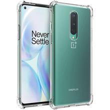 Étui Transparent Anti-chute pour Oneplus 8 T One Plus 8 Pro 7 7T 6 8 T Nord couvercle de protection en Silicone Transparent accessoires de téléphone