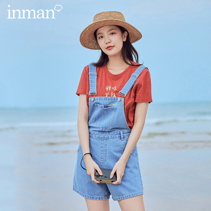 INMAN 2020 Summer New Arrival Pure Cotton Embroidery Fashion Loose Short Suspenders Trousers