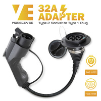 Morec EV Charger Adapter EVSE Charging Cable Type2 Inlet to Type1 Plug Flexible 32A 1 Phase For Audi,BMW..