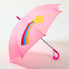 Children Cartoon umbrella semiautomatic paraguas Long handle Transparent UV protection Sun