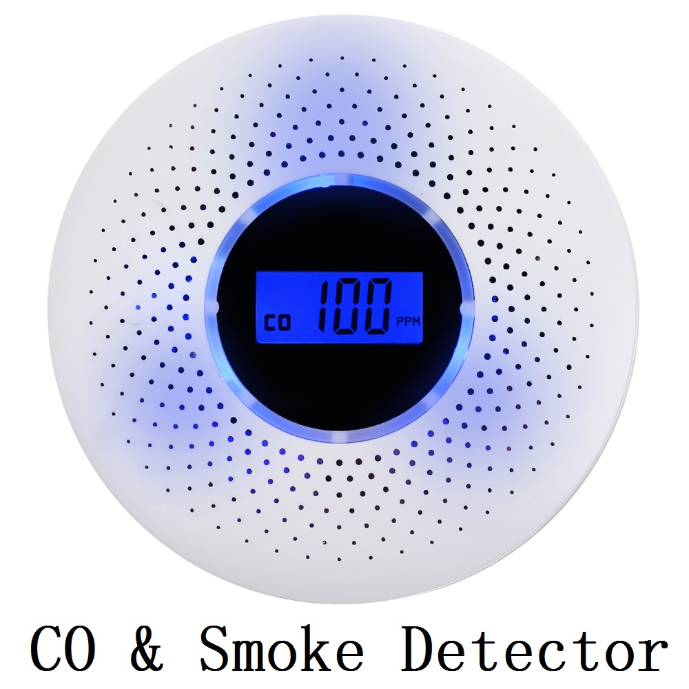 2 In 1 Carbon Monoxide & Smoke Combo Detector LCD CO Sensor With LED Light Flashing  Sound Warning Alarm Detector Free Shipping