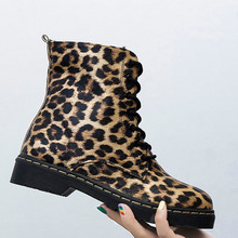 Women Leopard Print Round Toe Low Heel Zipper Ankle Boots Winter Warm Short Plush Party Office Daily Lace Up Snow Bootie Shoes цена 2017