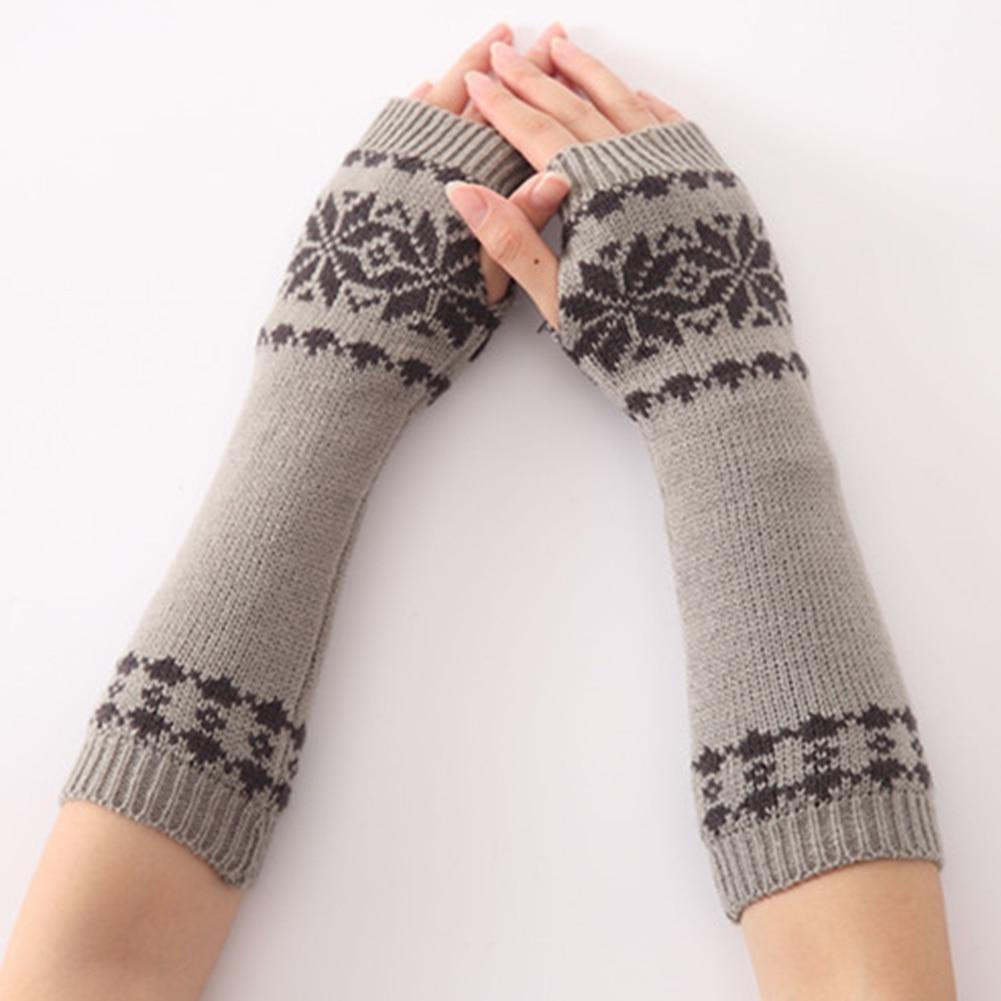 Snow Pattern Arm Long Gloves Warm For Women Fingerless Winter Gift Girls Knit
