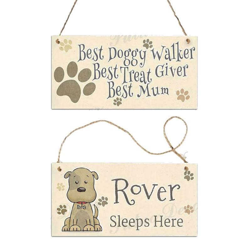 Cute Dog Tags Wooden pendant Rectangular Wooden Pet Tag Dog Accessories Lovely Friendship Animal Garden Home Decoration Dropship