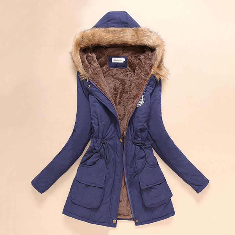 Parka kış ceket kadın kalın sıcak kapüşonlu kadın Parka 16 renk ceket kadın kış ceket Parka kadın pamuklu ceket kadın 2019