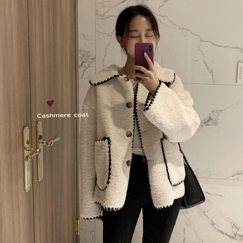 women winter vintage turn down collar lambwool coat ladies Tooth flower long sleeve short wool coat jacket warm outwear