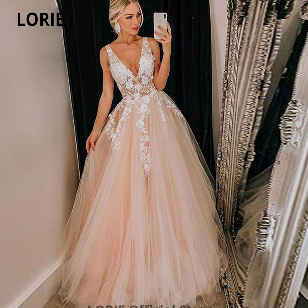 LORIE Sleeveless Wedding Dresses Boho 2020 Appliqued V-neck Open Back Beach Princess Bridal Gowns Plus Size Wedding Party Dress