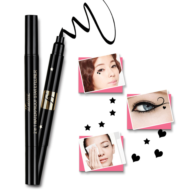 1pcs Double Head Waterproof Liquid Eyeliner Moon Star Heart Shapes Tattoo Stamp Quick To Dry Eye Liner Pencil Makeup Tool 1
