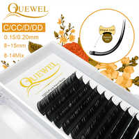 Quewel Flat Eyelashes Extension Matte Flat Oval Eyelashes Black Matte Soft Silk Eyelash Extension Individual C/CC/D/DD Curl LM