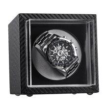 Мини автоматический виндер механических часов Черная кожа коробка для часов высокого класса мотор шейкер часы держатель дисплей коробка ювелирных изделий