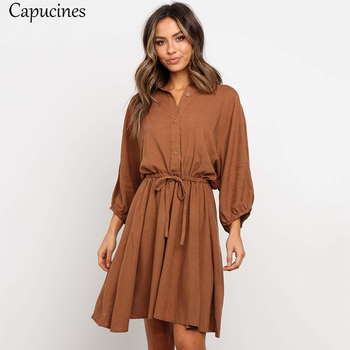 Women's Wrist Sleeves Casual Loose Cotton Dress Autumn Lantern Sleeve Short Dress Sashes Button Elegant Brown Mini Dresses