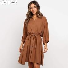 Robe automne en coton ample, manches poignet, Mini robe courte en coton pour femmes, manches lanternes, ceinture à boutons, élégante, brune, collection décontracté