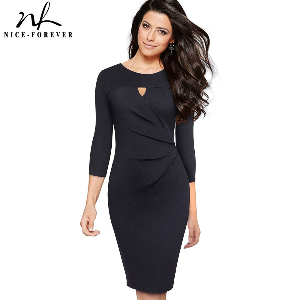 Nice-forever Vintage Elegant Pure Color Office Ladies Vestidos Business Party Bodycon Autumn Women Pencil Dress B555