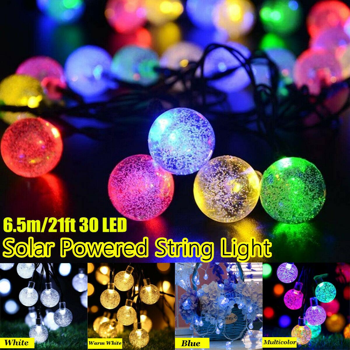 30 LED Crystal Ball LED Solar Lamp Power LED String Fairy Lights Solar Garlands Garden Christmas Decor For Outdoor