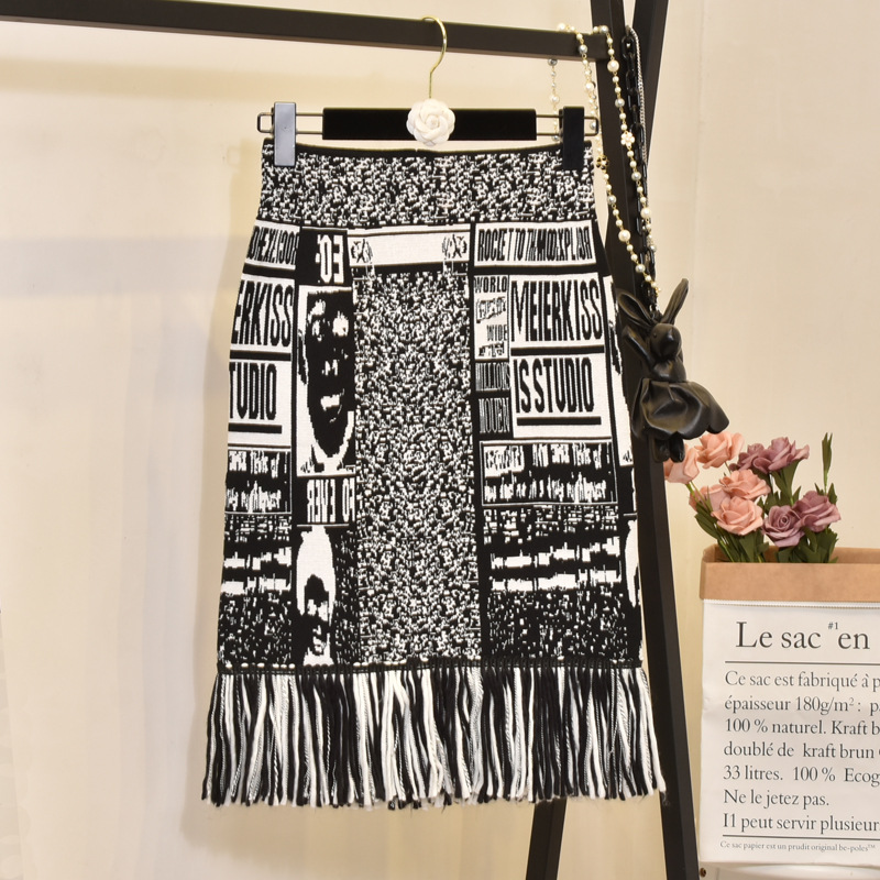 Women's Skirt Cartoon Tassel Knit Embroidery Autumn Letters Knit Thick Sexy Pencil Skirts Japan Woman Faldas Female LS150