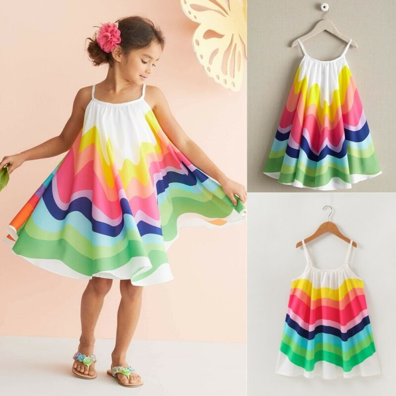 NEW Toddler Kids Baby Girls Summer Rainbow Adjustable Sling Dress Sleeveless Party Beach Dresses Vestidos