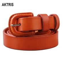 AKTRIS Womens All-match Fashion Retro Real Cow Genuine Leather Belts Simple Skin Cover Buckle Belt for Women Jeans FCO035