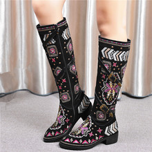 Tamanho grande 34 46 novo 2020 inverno genuíno botas de couro de vaca botas femininas ocidental bohemia botas femininas bordado na altura do joelho botas femininas