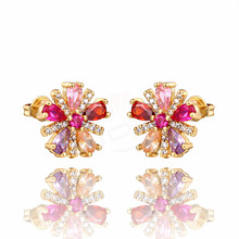 Minimalist Fashion Flowers Stud Earrings Austrian Crystal CZ Zircon for Women Simple Jewelry Brincos Gift