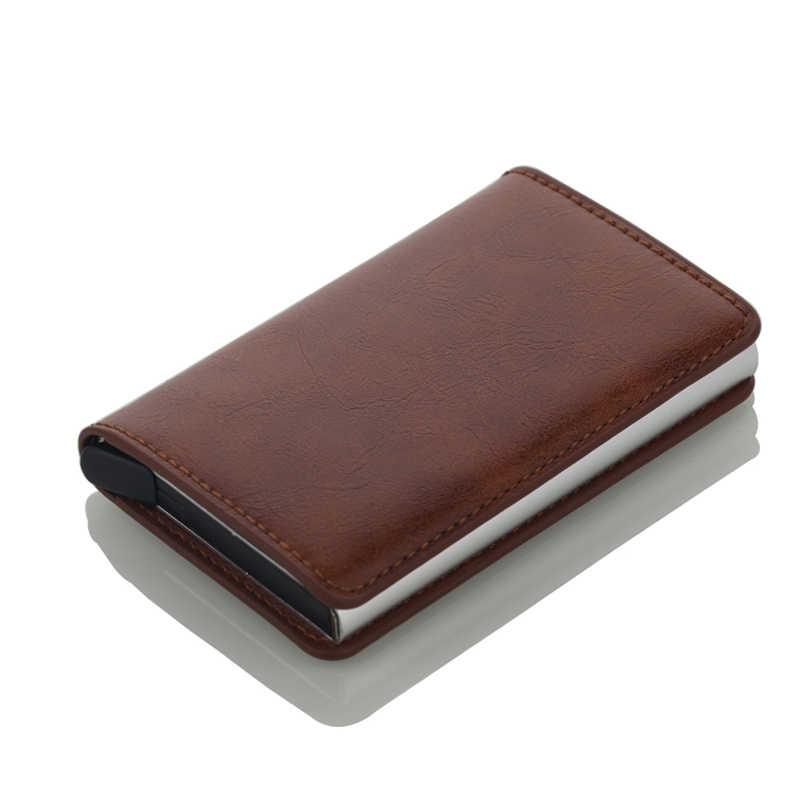 Portatarjetas de acero inoxidable para hombre, portatarjetas de marca de moda, portatarjetas de Metal, Mini cartera organizadora de tarjetas de alta calidad