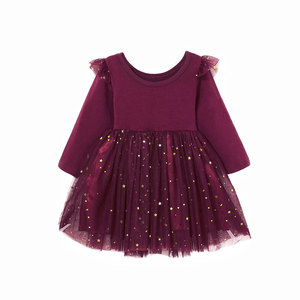 1-5Years Toddler Baby Kid Girls Dress Long Sleeve Ruffles Star Tulle Tutu Party Dresses For Girls Autumn Winter Costumes Clothes(China)