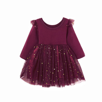 1-5Years Toddler Baby Kid Girls Dress Long Sleeve Ruffles Star Tulle Tutu Party Dresses For Girls Autumn Winter Costumes Clothes 2016 summer baby girls sequin dress stars sequins tulle bow toddler tutu princess dress girl kids costumes 1 5years sequin dress