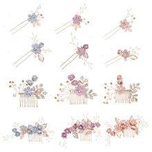 AINAMEISI joyería de moda peines para el cabello rojo rosa azul flor oro hojas horquillas tocado graduación boda accesorios para el cabello