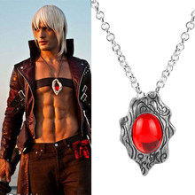 Game Jewelry DMC Demon Hunter Dante Amulet Pendant Necklace Cosplay Accessory Chain Necklace Red Stone Pendant Alloy(China)