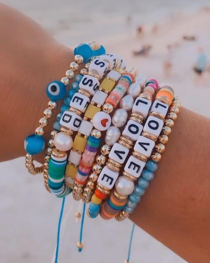 Go2Boho браслеты с буквами для женщин модные ювелирные изделия сглаза богемная Полимерная глина ювелирные изделия жемчуг Pulsera Tila браслет из би...