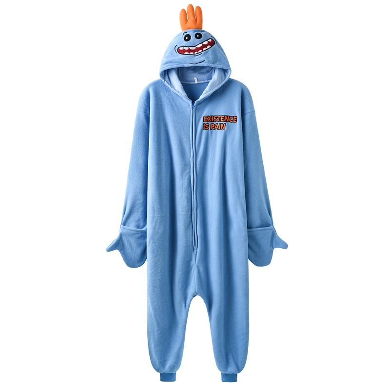 Mr Meeseeks Onesie Funny Kugurumi Unisex Cartoon Pajamas Polar Fleece Rick Morry Meeseeks Jumpsuit Zipper Sleepwear Women Adult