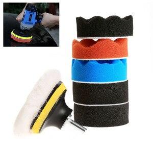 Image 2 - 8 pçs/set 3 polegada polidor de polimento almofada esponja kit carro com rosca m10 adaptador lavagem carro detalhamento limpeza do carro estilo