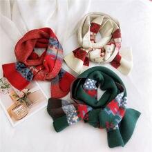 Красный хлопковый женский шарф в клетку зимний теплый вязаный