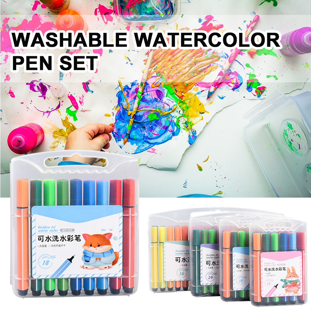 Art Supplies Stationery Watercolor Painting Portable Coloring Marker Pen Set Washable Student Kids Gift DIY Craft Highlighting