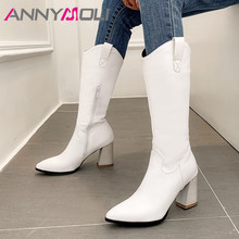 ANNYMOLI Autumn Western Boots Women Zipper Square High Heels Knee Pointed Toe Tall Shoes Ladies Winter Plus Size 3-12