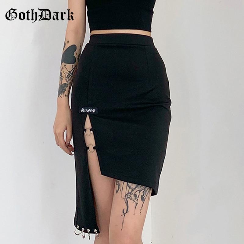 Goth Dark Gothic Punk Grunge Black Mini Skirts Harajuku High Waist Women Pencil Skirt Sexy Skinny Patchwork With Ring Clubwear