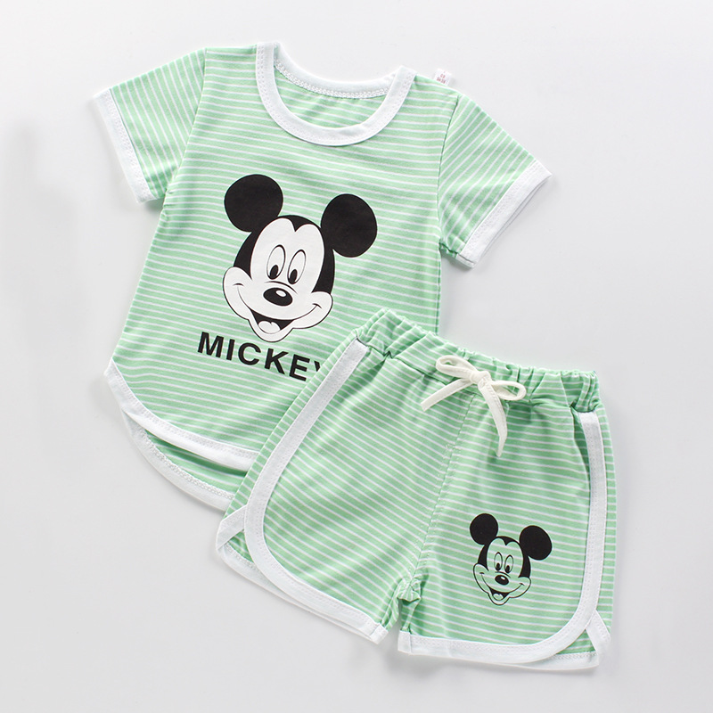Fashion Stripes Baby Boys And Girls Clothes Children's Cotton Baby  Set Summer Short Sleeve Baby Clothes Set