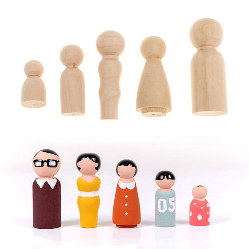 5/10pcs Puppet Wooden Peg Dolls Family Five People DIY Crafts Unfinished Toys Children's Painted Doodle Natural Color Ornaments
