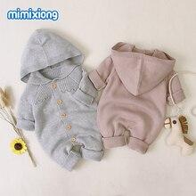 Śpioszki dla niemowląt z dzianiny na jesień niemowlę chłopcy dziewczęta kombinezony stroje jeden kawałek noworodka Bebes ogólnie z długim rękawem 0 18 miesięcy ubrania