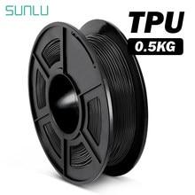 Filamento flexível do plástico tpu do filamento de sunlu 1.75mm tpu 3d para a precisão da dimensão da impressora 3d +/-0.02mm 0.5kg com carretel