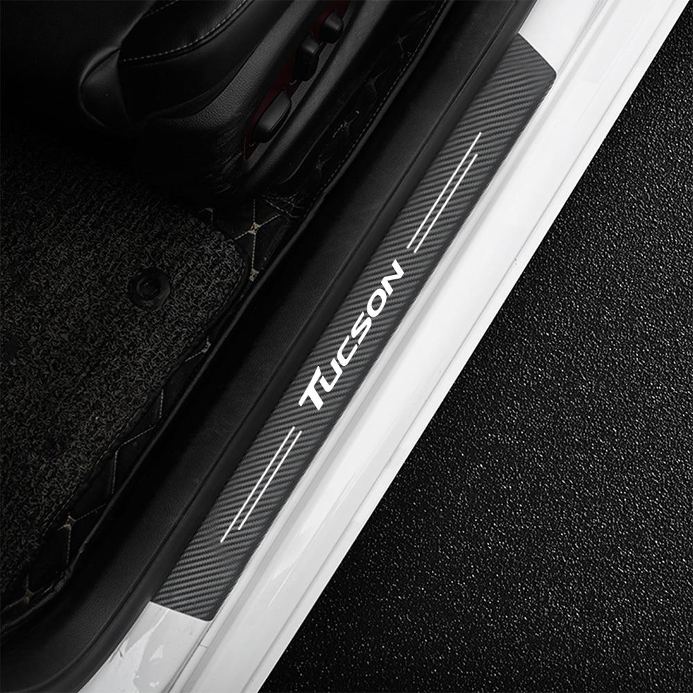 4 шт., наклейки на порог двери для Hyundai Tucson JM TL NX4 2005 - 2020 otali.ru