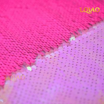 125*45CM Neon Pink/White and Gold/Rainbow Reversible Embroidered Mermaid Sequin Fabric For Dresses/Photo Backdrop Wedding Decor image