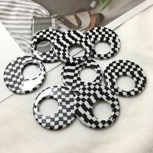 Ретро черно белая решетка геометрические полые круглые полимерные